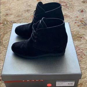 Black Prada wedged suede sneaker size 36.5.